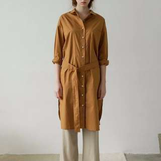 Studiodoe 黃棕色長版襯衫洋裝