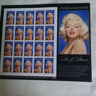 USA Legends of Hollywood stamp sheet-Marilyn Monroe -US32 cents x 20 stamps