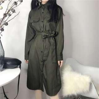 春裝韓版寬鬆襯衫連身裙 口袋收腰個性長衫