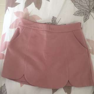 Dusty Rose Scallop Hem Skorts