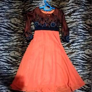Girl dress orange+black