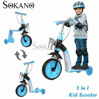 SOKANO 2 in 1 Indoor Or Outdoor Use Kid Scooter With Adjustable Height