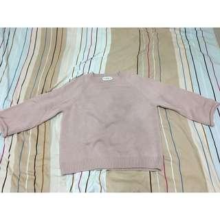 粉色捲邊袖針織毛衣