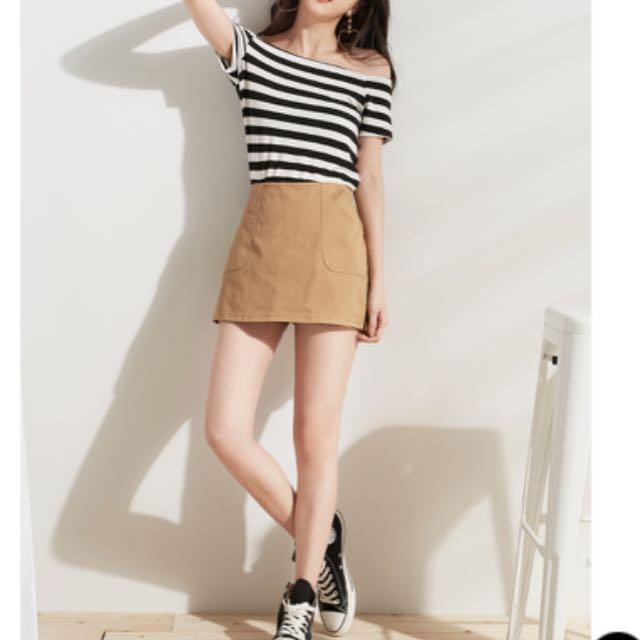 50%黑色窄褲裙S號