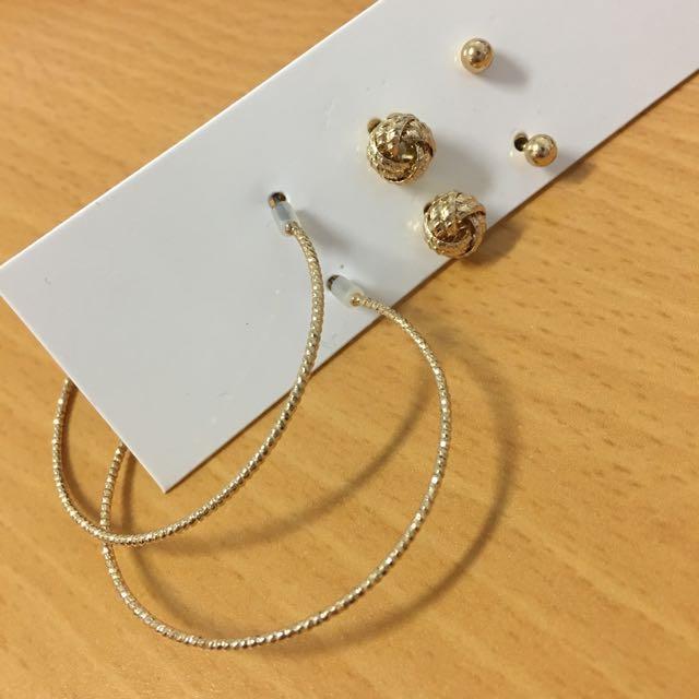 三件組金色耳環