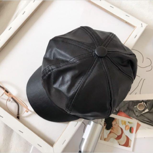 二手簡約造型皮帽