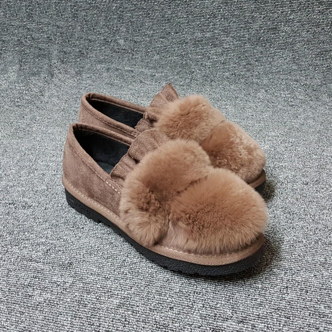 暖心皺褶布毛毛平底鞋(咖啡/黑兩色)