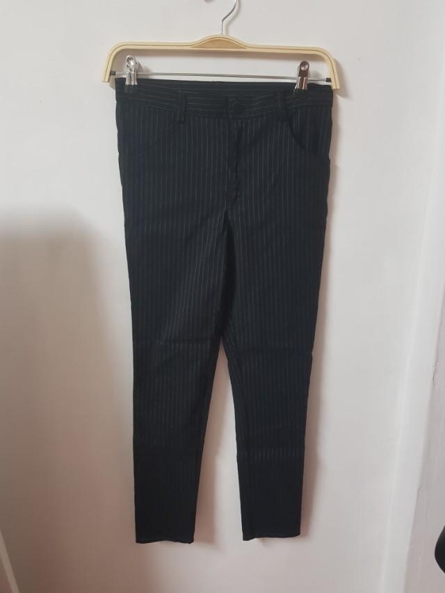 直條紋西裝九分褲老爺褲