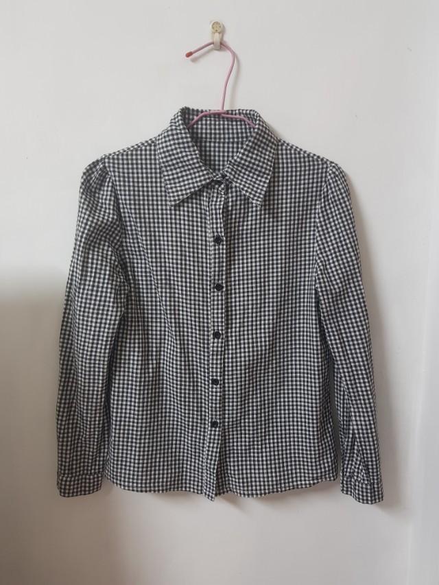 長袖格紋襯衫