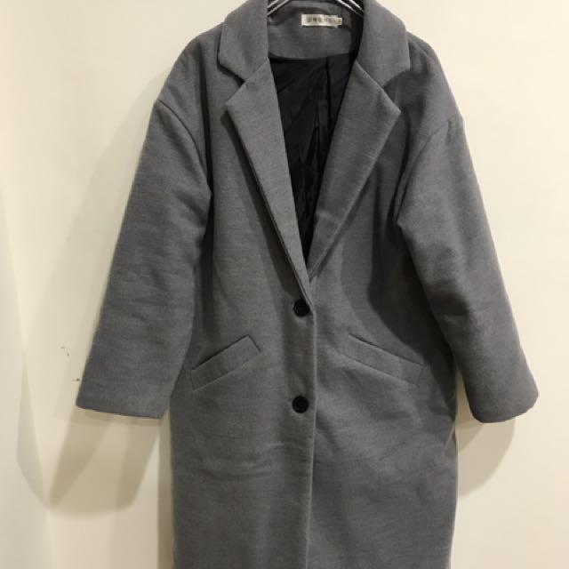 韓風灰色長版落肩大衣