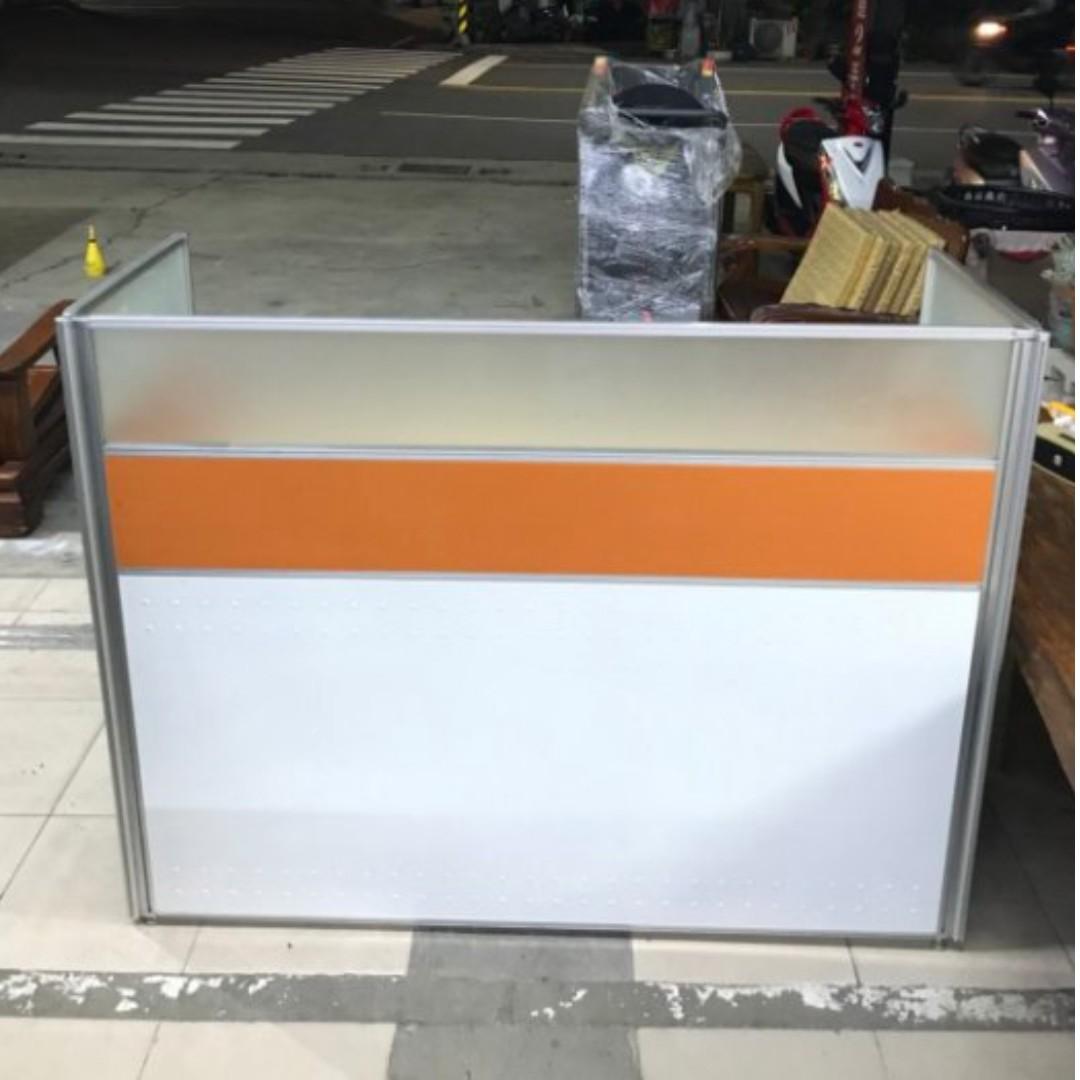橘色ㄇ字型單人辦公屏風組 二手辦公家具 業務桌書桌 辦公室OA屏風隔間 辦公桌 會議桌 A1216
