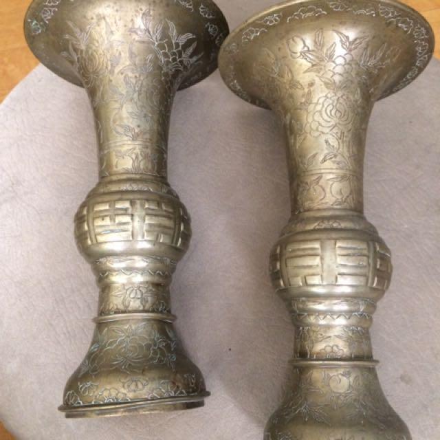 Antique Solid Brass Vase