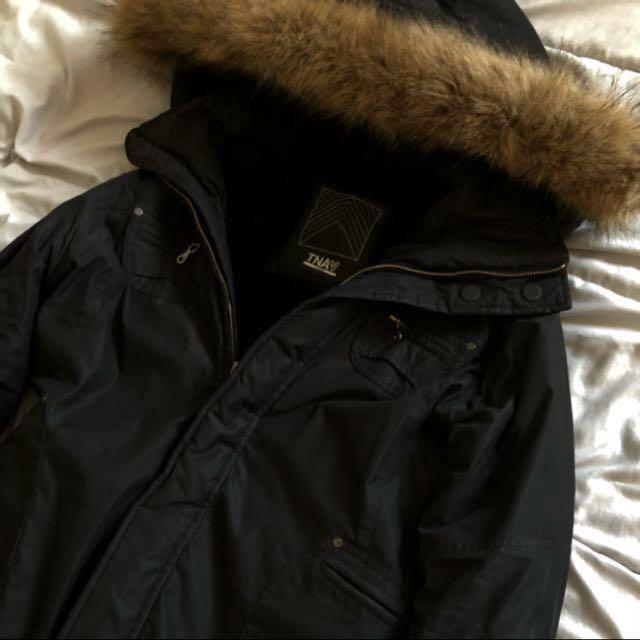 aritzia long black jacket