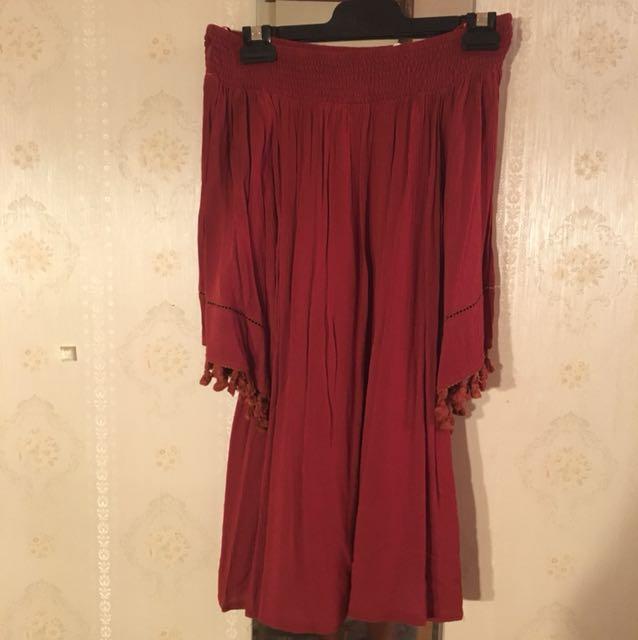 Bardot Style Burgandy Dress