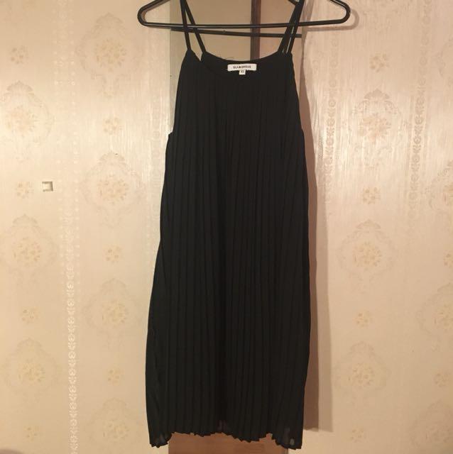 Black Pleated Midi Dress