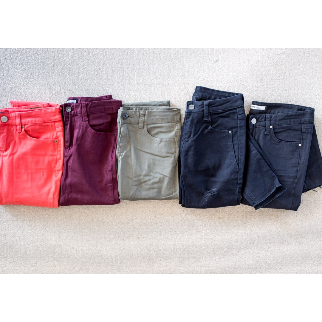 BULK lot of 5x coloured denim jeans ALL fit Size 25-26 or AU 6-8.