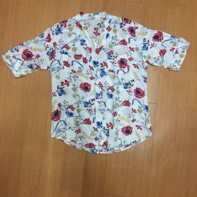 Floral print chinese collar cotton blouse from Bangkok