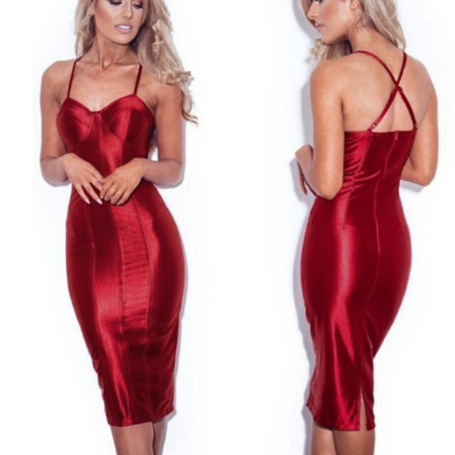 Gold or Red Padded Bra Bodycon Midi Dress with small back slit