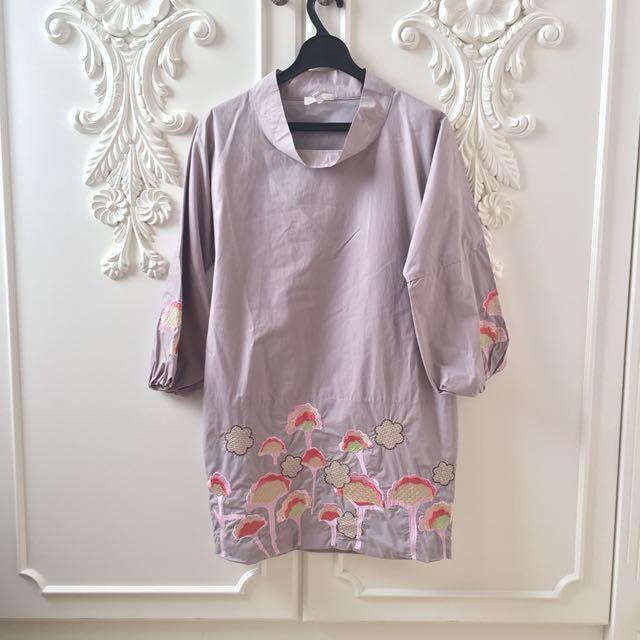 Grey Dress with flower embelishments