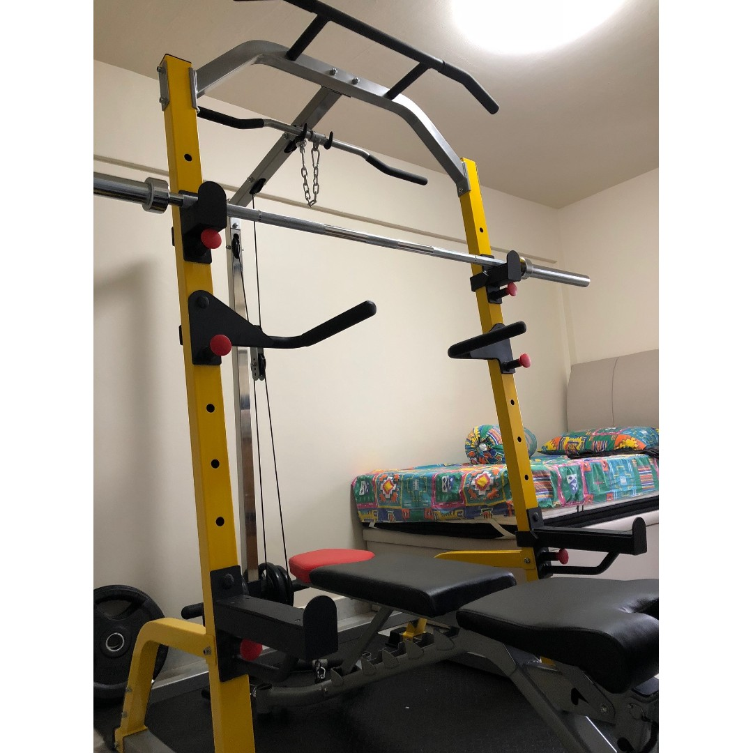 Home gym package #1 yellow heavy half rack with lats machine