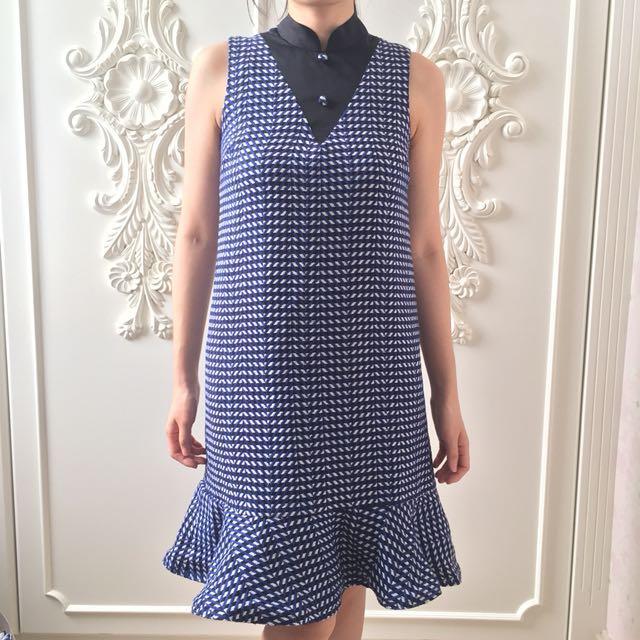 Jolie Clothing Blue Tweed Dress