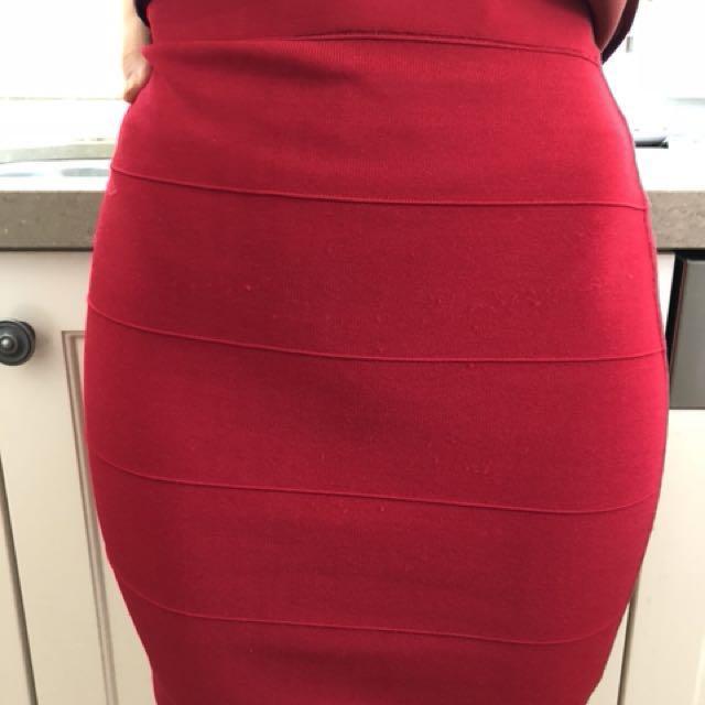 Like New Ted Baker Red Skirt Bandage Size 6 RRP $149
