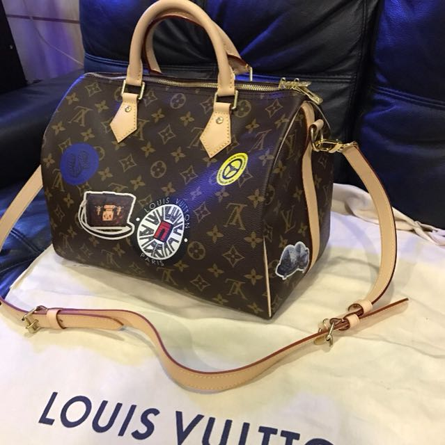 Louis Vuitton Limited Edition Monogram Canvas World Tour Speedy Bandouliere  30 Bag a9812cb81b1ed