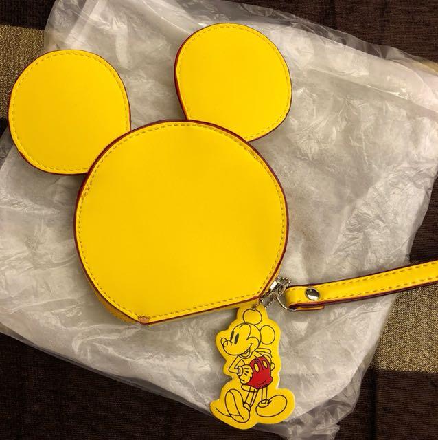 Mickey Mouse Disney 米奇耳朵合成皮革手拿包 零錢包 全新