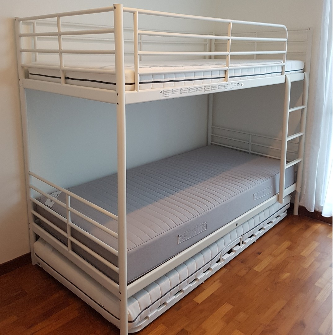 New double decker bed with 3rd pull out bed, Home & Furniture ...