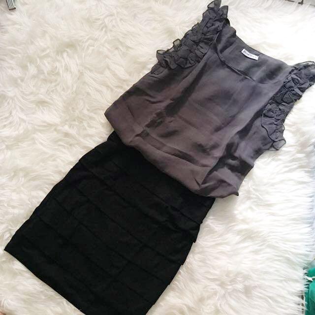 (NEW) Grey & Black Dress