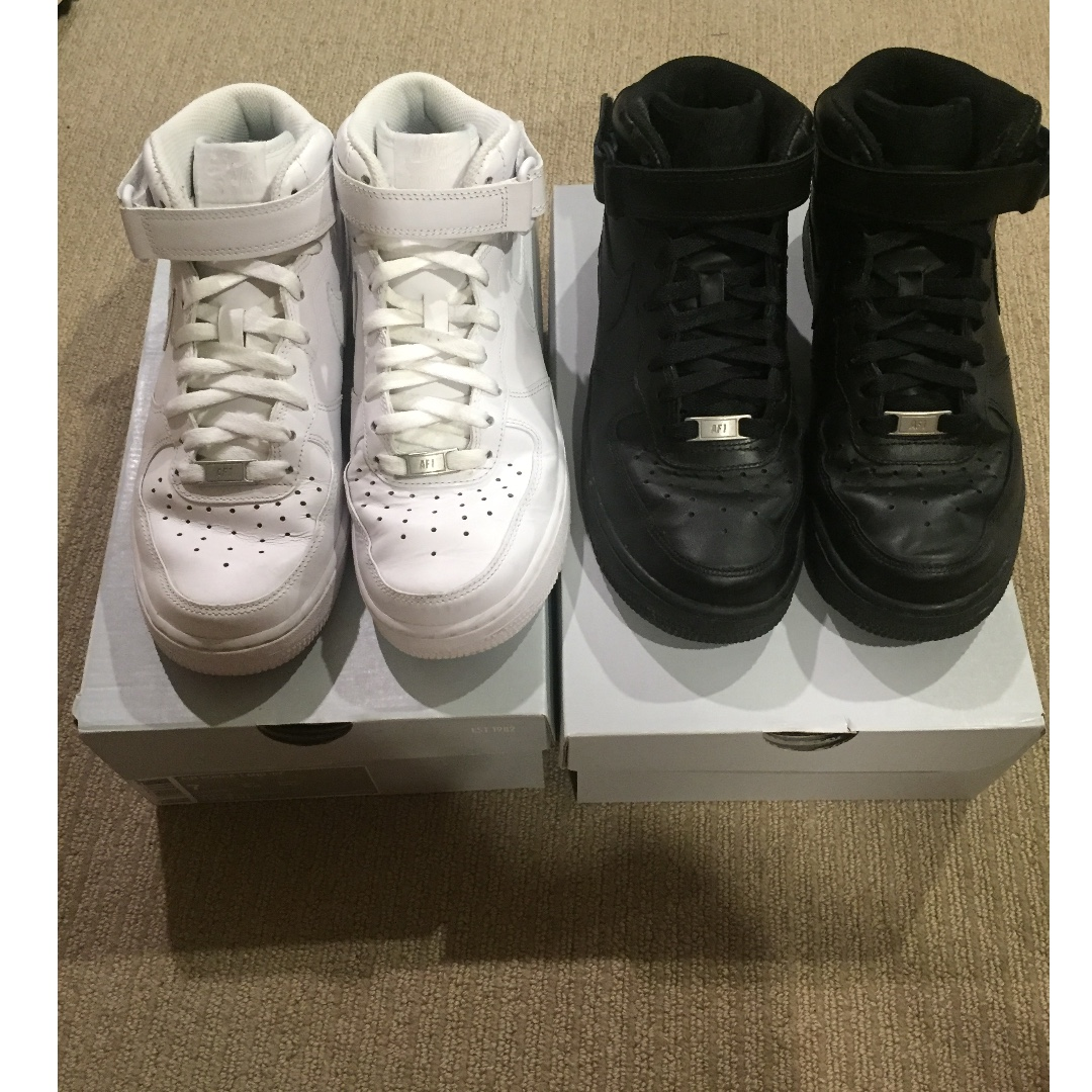 NIKE AIR FORCE 1 MID - BOTH BLACK AND WHITE PAIRS FOR $95 - NEED GONE ASAP