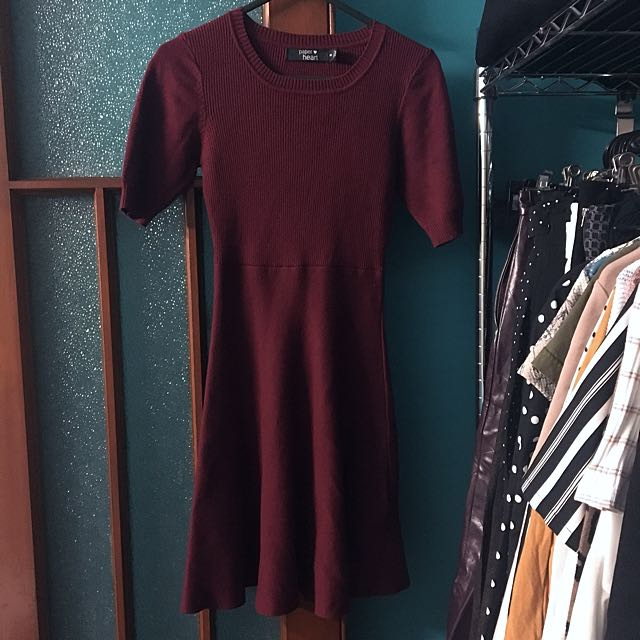 Paper Heart Red Skater Knit Dress