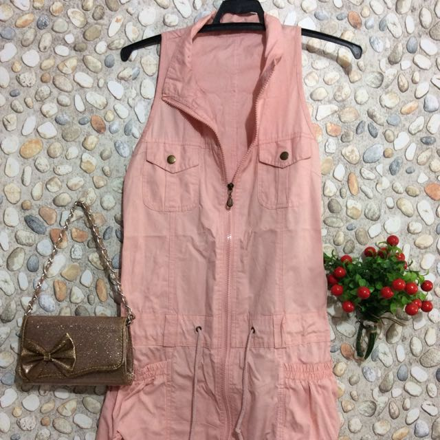 Peach Denim Casual Dress