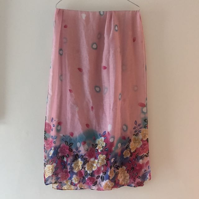 Pink floral scarf or shawl