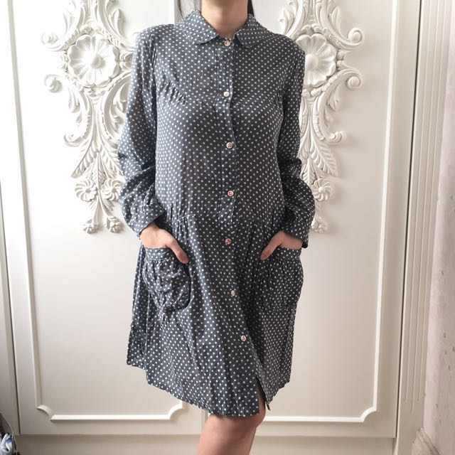Polkadot Grey Shirt Dress