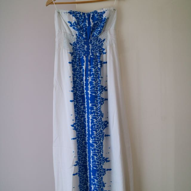 Portmans Grecian / Boho Blue + White Ikat Print Maxi Strapless Dress Sz 12