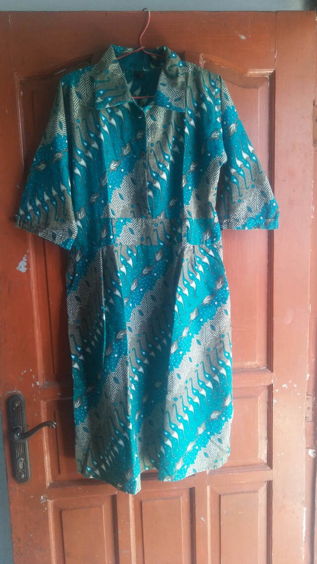 Preloved batik dress hijau
