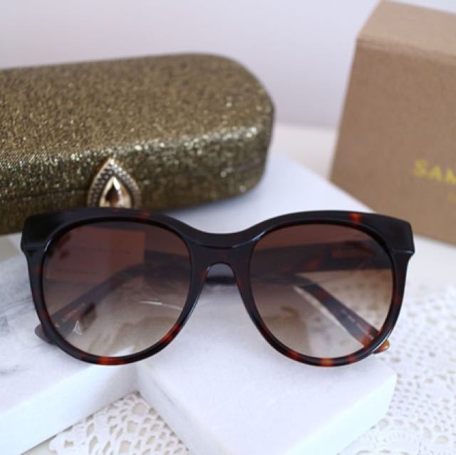 Samantha Wills Boho Luxe Talulah Cat Eye Sunglasses in Marble Brown - NIB