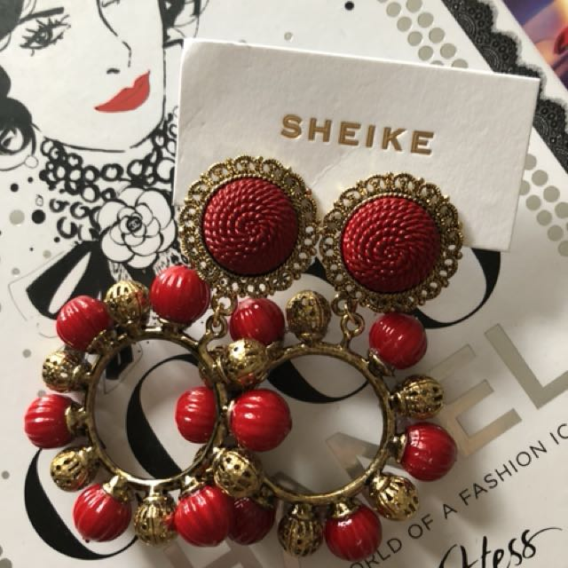 Sheike red earrings - Sold out style BNWT
