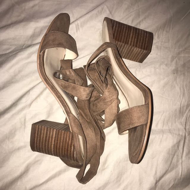 Tan suede heeled sandals size 7.5