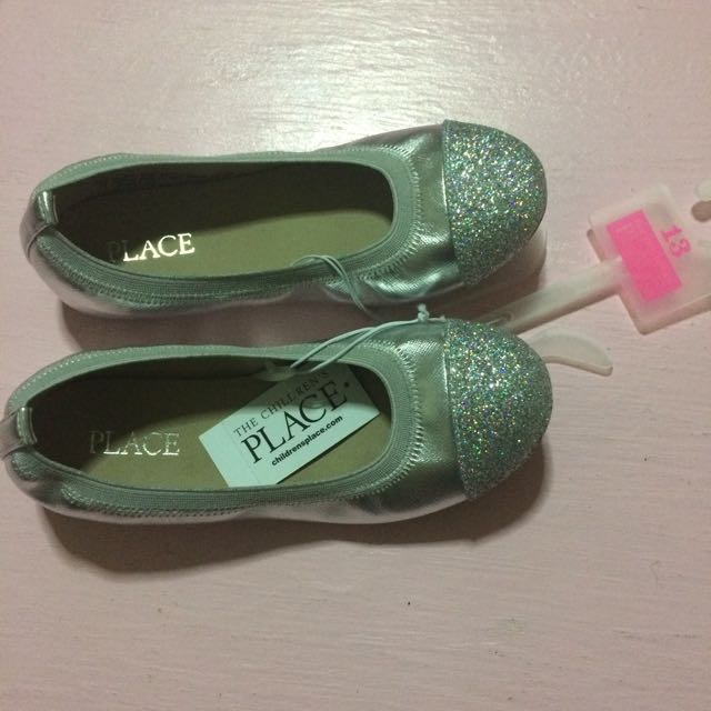 b274dfd8bea The Children s Place silver glittery ballet flats shoes size 13 ...