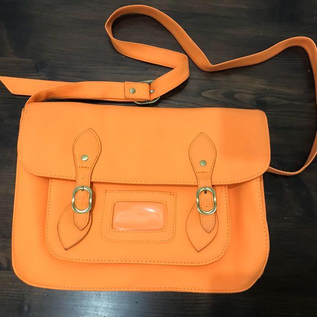 Typo orange cambridge satchel