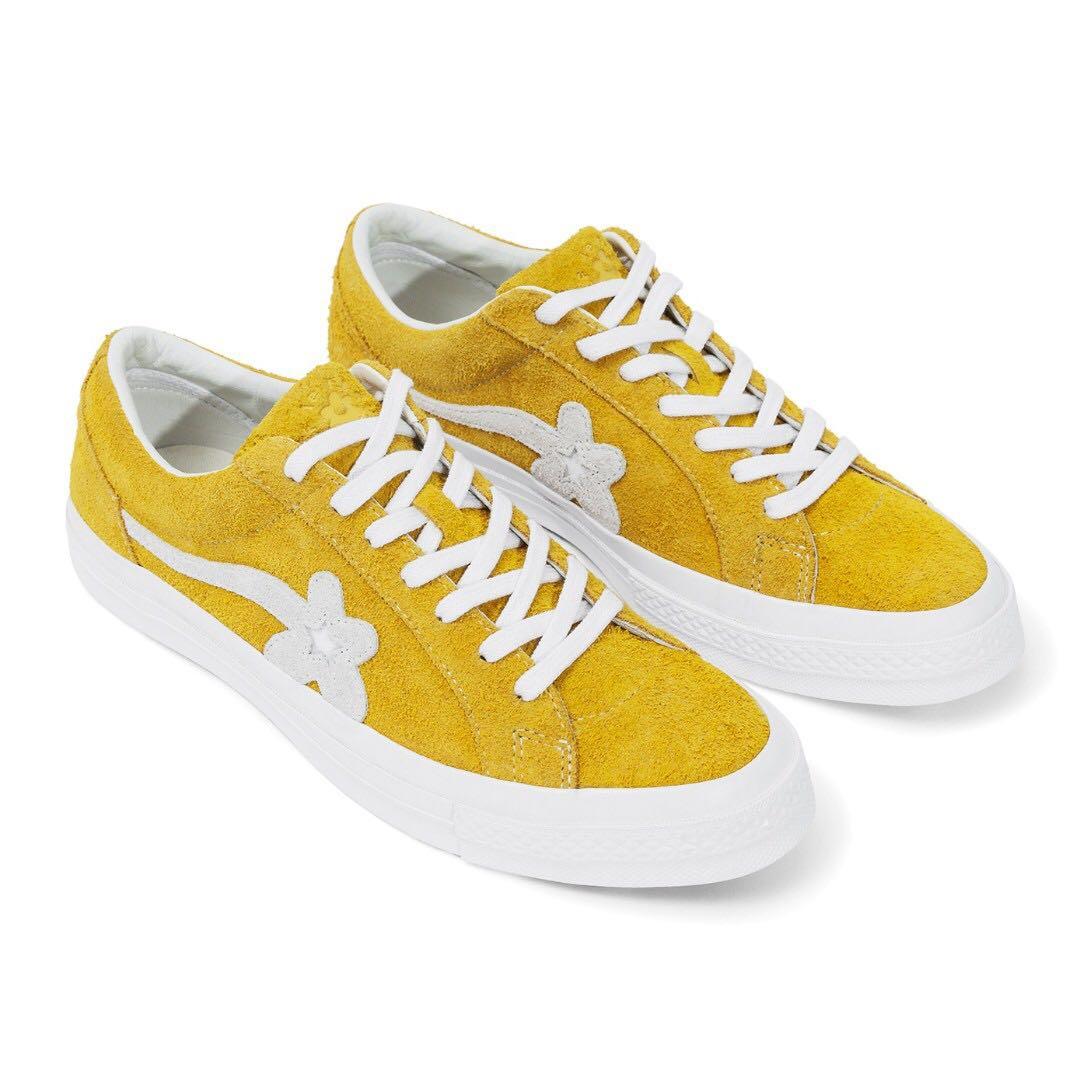 US7 Tyler, The Creator x Converse Golf le FLEUR* (Yellow), Men\u0027s Fashion,  Footwear on Carousell