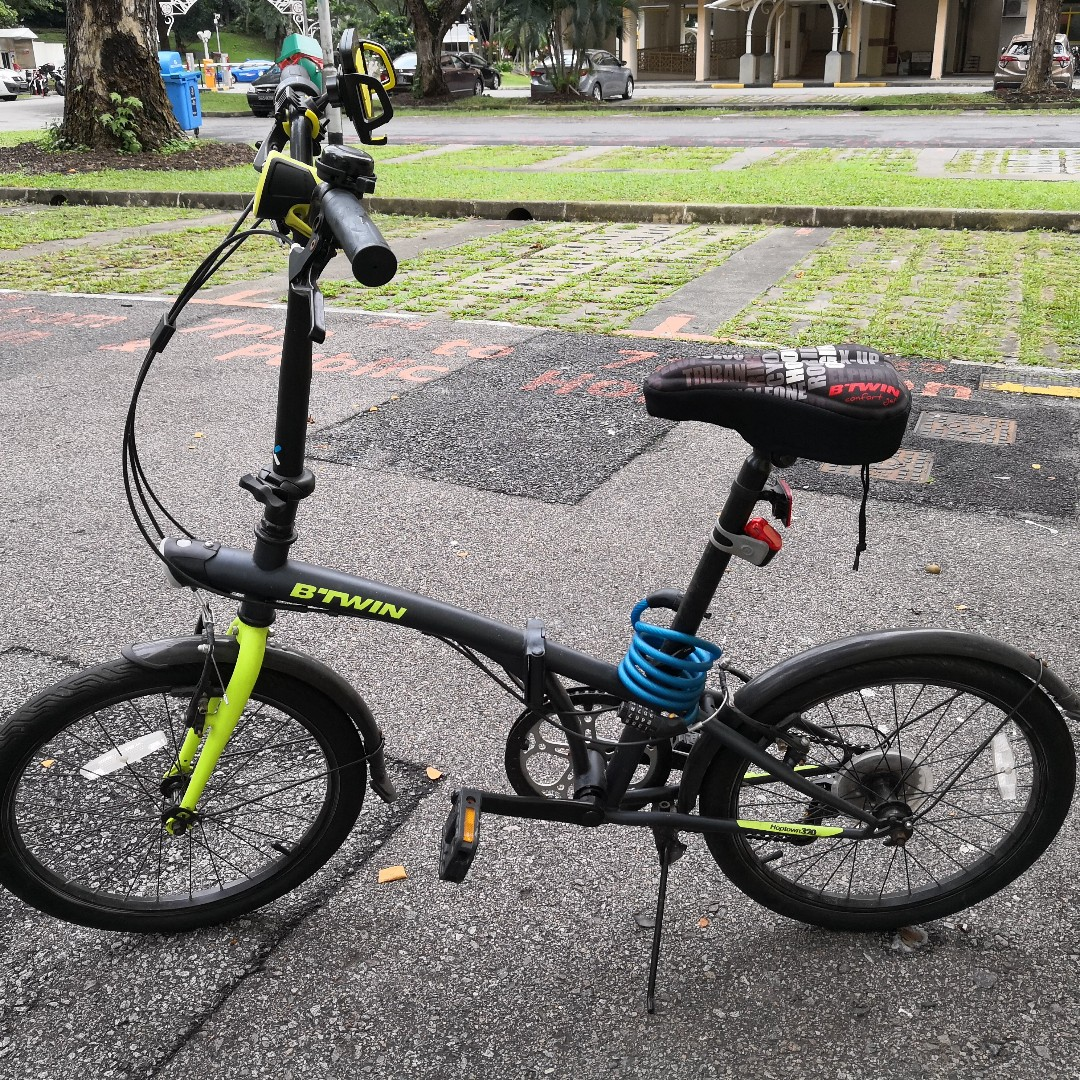 used btwin hoptown 320 20 foldable bike green w accesories bicycles pmds bicycles on. Black Bedroom Furniture Sets. Home Design Ideas