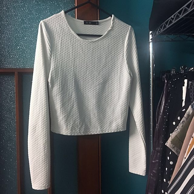 Waffle White Crop Top