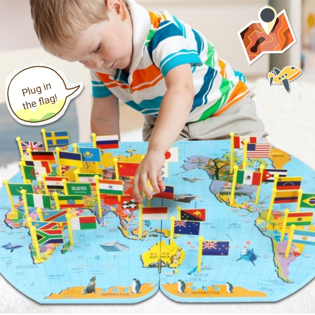 World map plug in the flags intellectual puzzle game kids toy photo photo gumiabroncs Image collections
