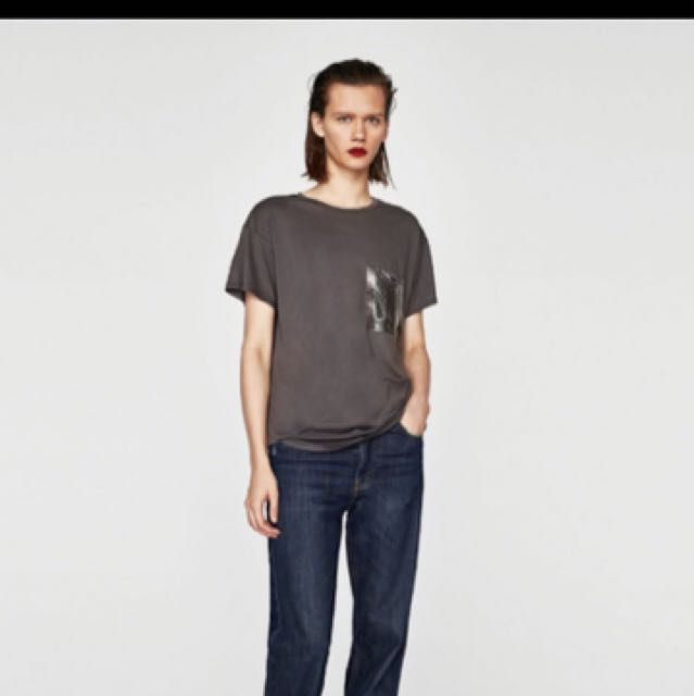 Zara Charcoal Gray Pocket T-shirt