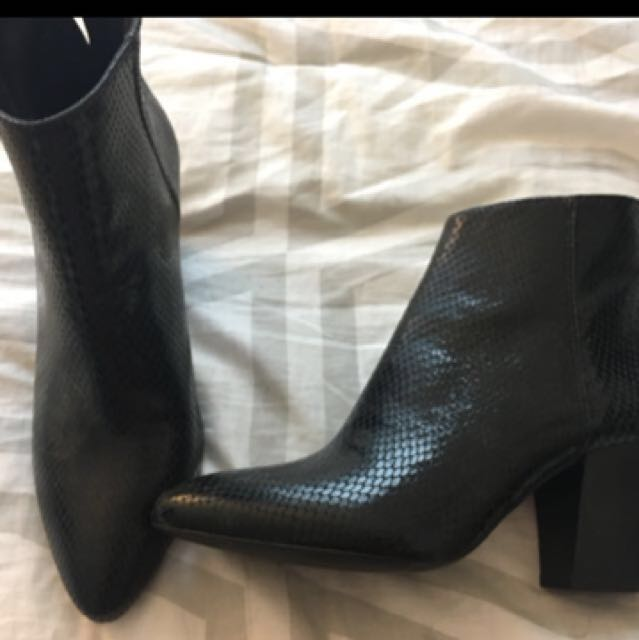 ZARA embossed leather ankle boots