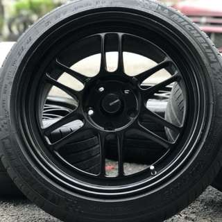 Enkei rpf1 17 inch sports rim civic fb tyre 70%