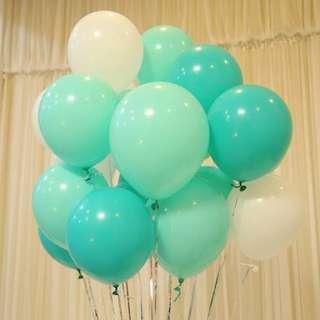 Balloons. Tiffany green. Tiffany blue